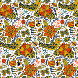 Seamless texture with flowers, birds and butterflies. Can be use Stock Images