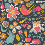 Seamless texture with flowers, birds and butterflies. Use for wa Royalty Free Stock Photos