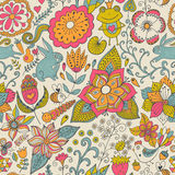 Seamless texture with flowers, birds and butterflies. Use for wa Royalty Free Stock Image