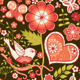 Seamless texture with flowers and birds. Endless floral pattern Stock Photography