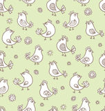 Seamless texture with flowers and birds. Royalty Free Stock Photo