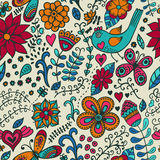 Seamless texture with flowers and birds. Endless floral pattern. Stock Photography