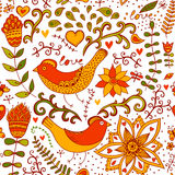 Seamless texture with flowers and birds. Endless floral pattern. Royalty Free Stock Photography