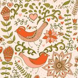 Seamless texture with flowers and birds. Endless floral pattern. Stock Image