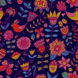 Seamless texture with flowers and birds. Endless floral pattern. Royalty Free Stock Image
