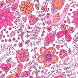 Seamless texture with flowers and birds. Endless floral pattern. Stock Photo