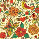 Seamless texture with flowers and birds. Endless floral pattern. Royalty Free Stock Photo
