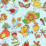 Seamless texture with flowers and birds Royalty Free Stock Photography