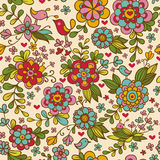 Seamless texture with flowers and birds. Stock Image