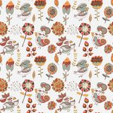 Seamless texture with flowers and birds Stock Photo