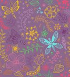 Seamless texture with flowers and butterflies Stock Photo