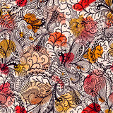 Seamless texture with flowers and butterflies. Endless floral pa royalty free illustration