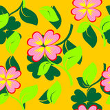 Seamless texture with flowers and green petal. Vec Royalty Free Stock Image