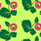 Seamless texture with flowers and green petal Stock Photos