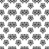 Seamless texture with flowers and hearts. Endless floral pattern. Black and white background stock illustration