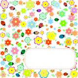 Seamless texture with flowers and ladybirds Royalty Free Stock Image