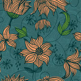 Seamless  texture with flowers in vector. Floral seamless backgrounds for design of fabrics and wallpapers in vector Stock Images
