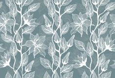 Seamless  texture with flowers in vector. Seamless background - floral ornament with leaves and flowers in vector Royalty Free Stock Photo
