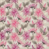 Seamless texture with flowers in vector. Seamless background - floral ornament with leaves and flowers Stock Image
