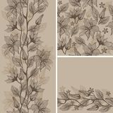 Seamless  texture with flowers in vector. Seamless background - floral ornament with leaves and flowers Royalty Free Stock Photos