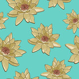 Seamless texture of flowers of water lilies on a blue background Royalty Free Stock Photo