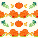 Seamless texture food turkey with pumpkin and grapes vector Stock Photos