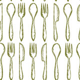 Seamless texture with Fork, Knife, Spoon in sketch style. Hand drawing cutlery pattern. Vector illustration. Royalty Free Stock Photography