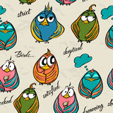 Seamless texture with funny birds. Royalty Free Stock Photos