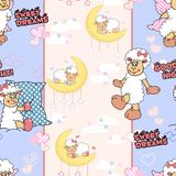 Seamless texture with funny cartoon lambs. Can be used as pattern for bedclothes. stock illustration