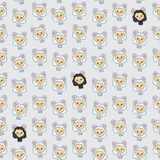 Seamless texture with funny cartoon sheep. Vector background Stock Photo