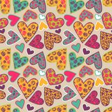 Seamless texture with funny hearts Stock Photo