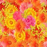 Seamless  texture gerbera and roses vector Royalty Free Stock Photos