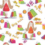 Seamless texture  of girl with bags of shopping. Background. Big sale Stock Image