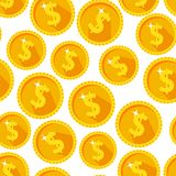 Seamless texture with golden coins. Flat style Royalty Free Stock Image