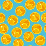 Seamless texture with golden coins. Flat style Stock Photo