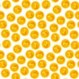 Seamless texture with golden coins. Flat style Stock Photos