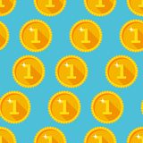 Seamless texture with golden coins. Flat style Stock Image