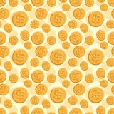Seamless texture with golden coins flat style. Seamless texture with golden coins flat style Royalty Free Stock Photography