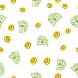 Seamless texture with golden coins money Stock Image