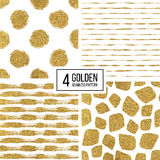 Seamless texture golden lines, circle, point, stroke. Set of seamless pattern of gold stripes or strokes, polka dots, mosaic spots, seamless texture golden lines Royalty Free Stock Photography