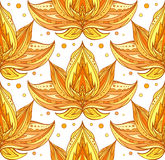 Seamless texture with golden lotuses with boho pattern Royalty Free Stock Photography
