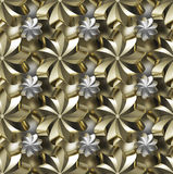 Seamless texture, golden/silver twirled stars Stock Images