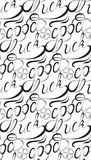 Seamless texture with good luck written in cursive font Royalty Free Stock Photo
