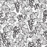 Seamless texture grapes vine ornament. Stock Photos