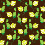 Seamless texture green flowers on brown Royalty Free Stock Photography