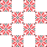 Seamless texture with green and yellow abstract flowers. Seamless texture with red and black abstract patterns for tablecloth.Embroidery.Cross stitch Royalty Free Stock Image