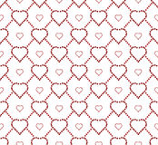 Seamless texture with a grid of hearts and flowers Royalty Free Stock Photography