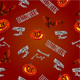 Seamless texture Halloween pumpkins bats  skulls and bones vector Stock Images