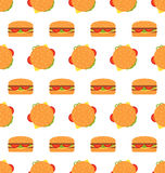 Seamless Texture with Hamburgers. Fast Food Pattern Royalty Free Stock Image