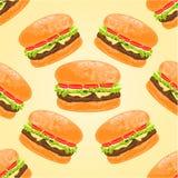 Seamless texture hamburgers vector Stock Photo